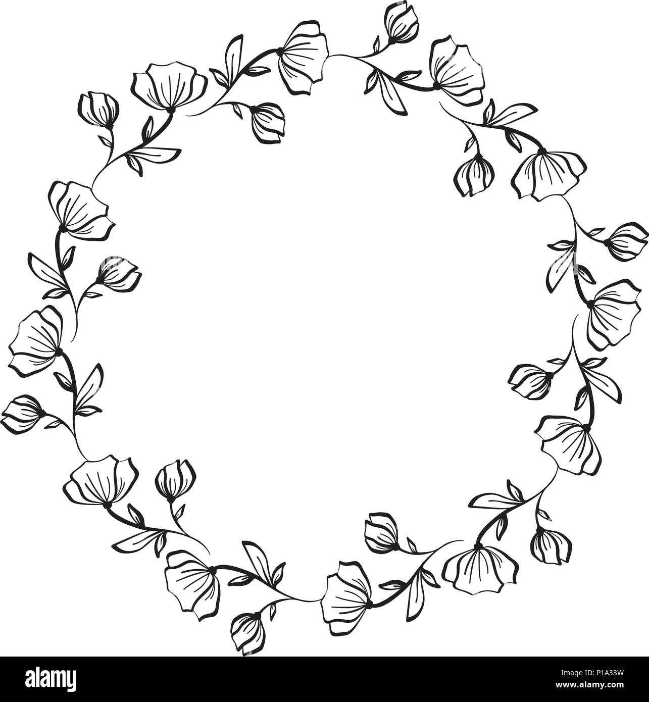 Lavender flowers decorative wreath isolated on white background ...