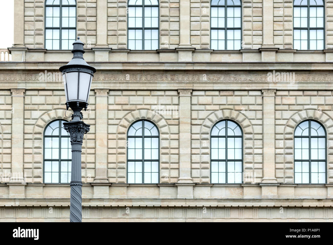 Muenchen, Germany, lantern in front of the facade of the Munich residence - Stock Image
