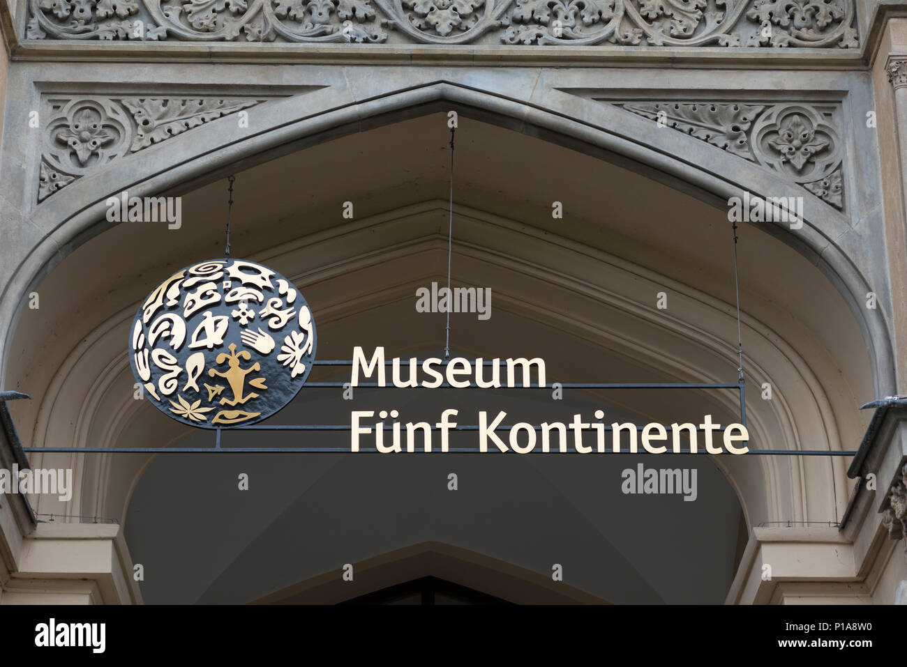 Muenchen, Germany, entrance portal of the Museum Fuenf Continents - Stock Image