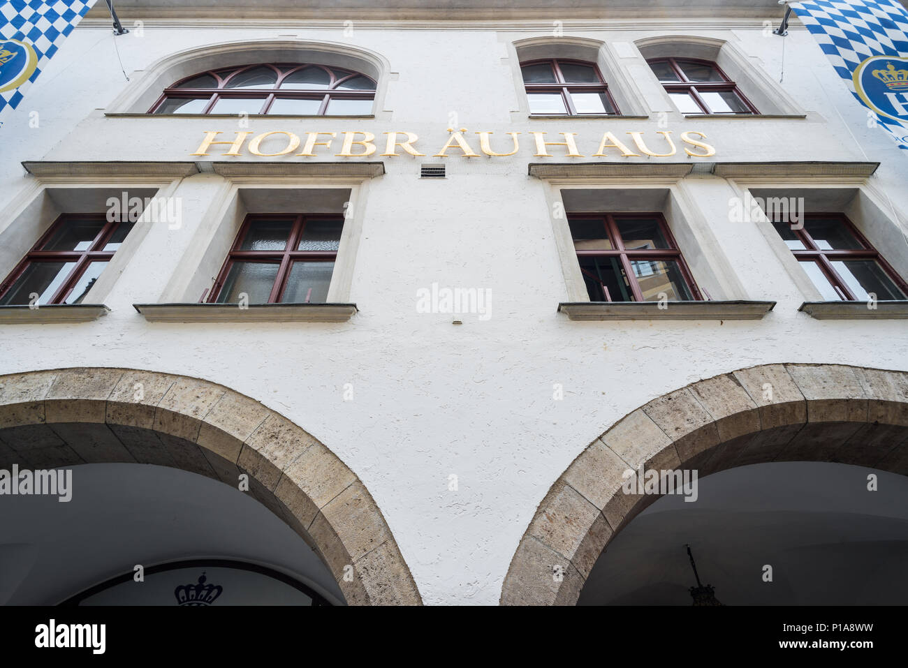 Muenchen, Germany, lettering and facade of Hofbraeuhaus am Platzl - Stock Image