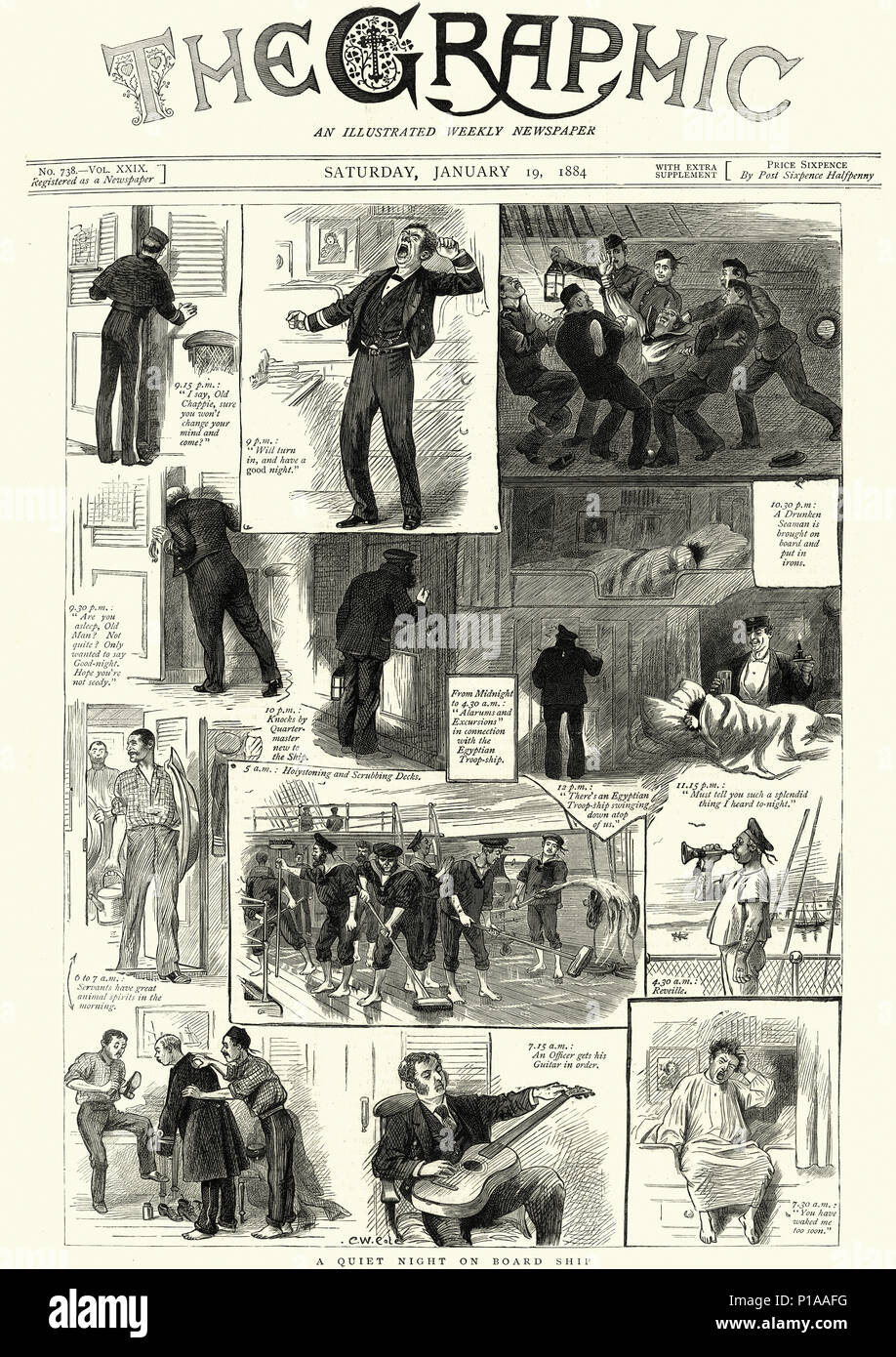 Front page of the Graphic newspaper, January 19th, 1884, Quiet night on board a Royal Navy Warship - Stock Image