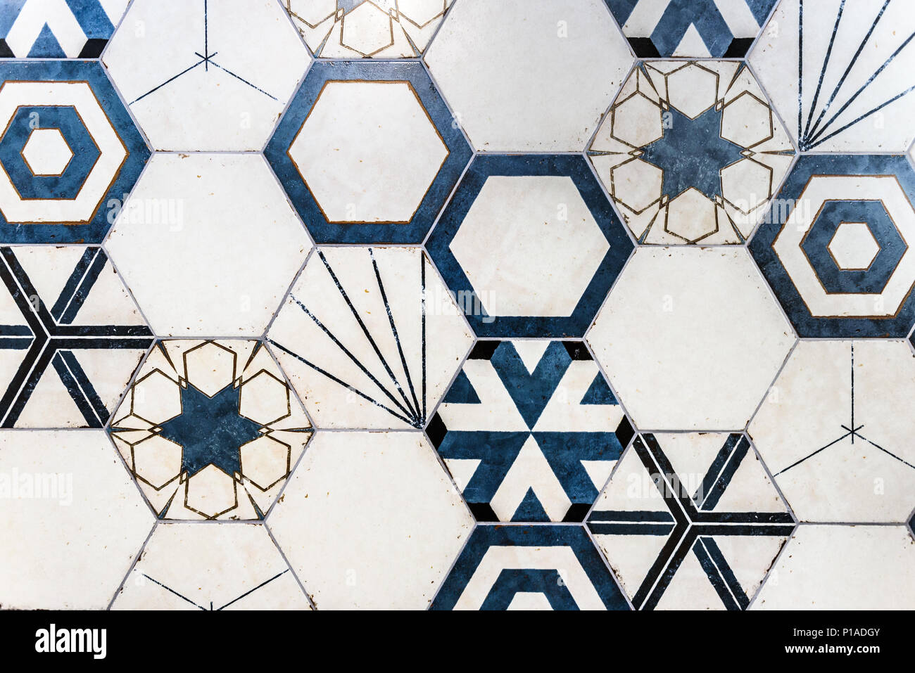 Hexagonal Colorful Modern Bathroom, Toilette Or Kitchen Ceramic Tiles Wall.  Artistic Blue And White Ornamental Hexagonal Ceramic Tiles Texture Pattern