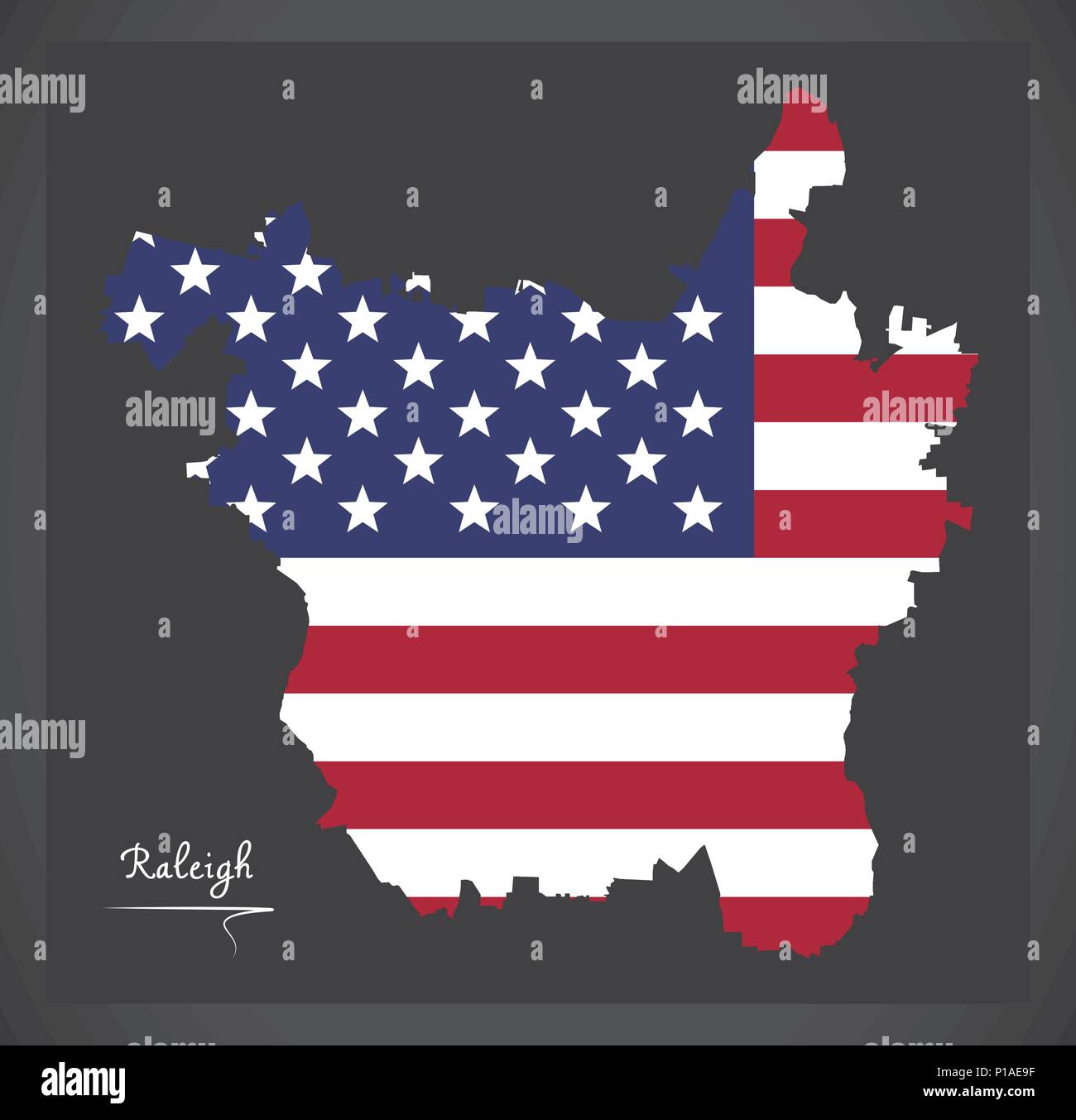 Raleigh North Carolina Map With American National Flag Illustration - Raleigh-nc-on-us-map