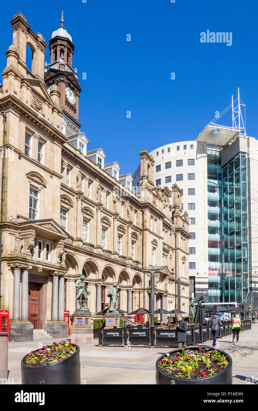 yorkshire england leeds yorkshire england the old post office building in the City Square leeds city centre restaurant with outside dining leeds uk - Stock Image