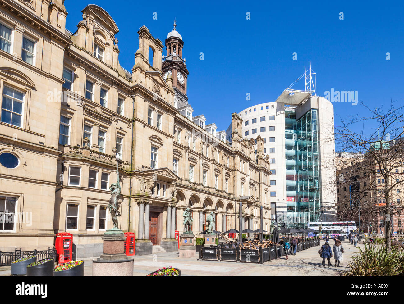 yorkshire england leeds yorkshire england the old post office building in the City Square leeds city centre restaurant with outside dining leeds uk Stock Photo