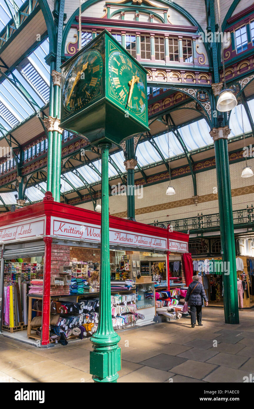 yorkshire england leeds yorkshire england leeds kirkgate market clock marks and spencer  indoor market kirkgate leeds city centre leeds uk gb europe - Stock Image