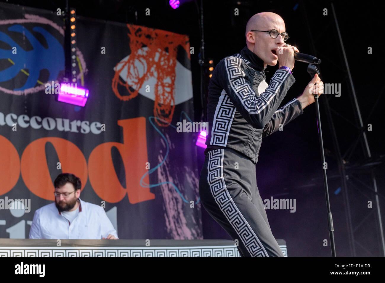 The Correspondents (DJ Chucks and Mr Bruce) perform at the Wychwood Festival, Cheltenham, UK. June 3, 2018 Stock Photo