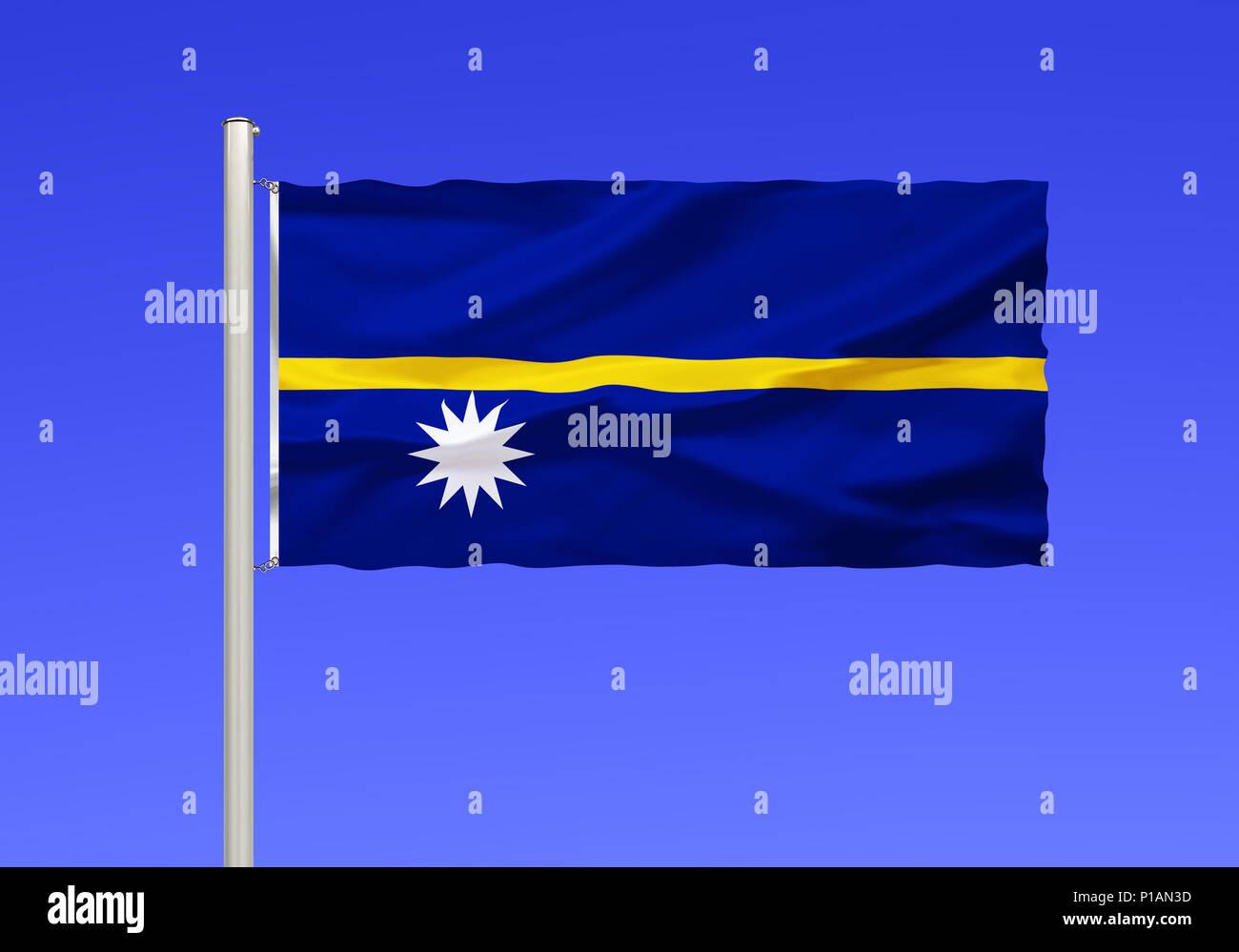 Flag of Nauru, Pacific Ocean,, Flagge von Nauru, Pazifischer Ozean, - Stock Image