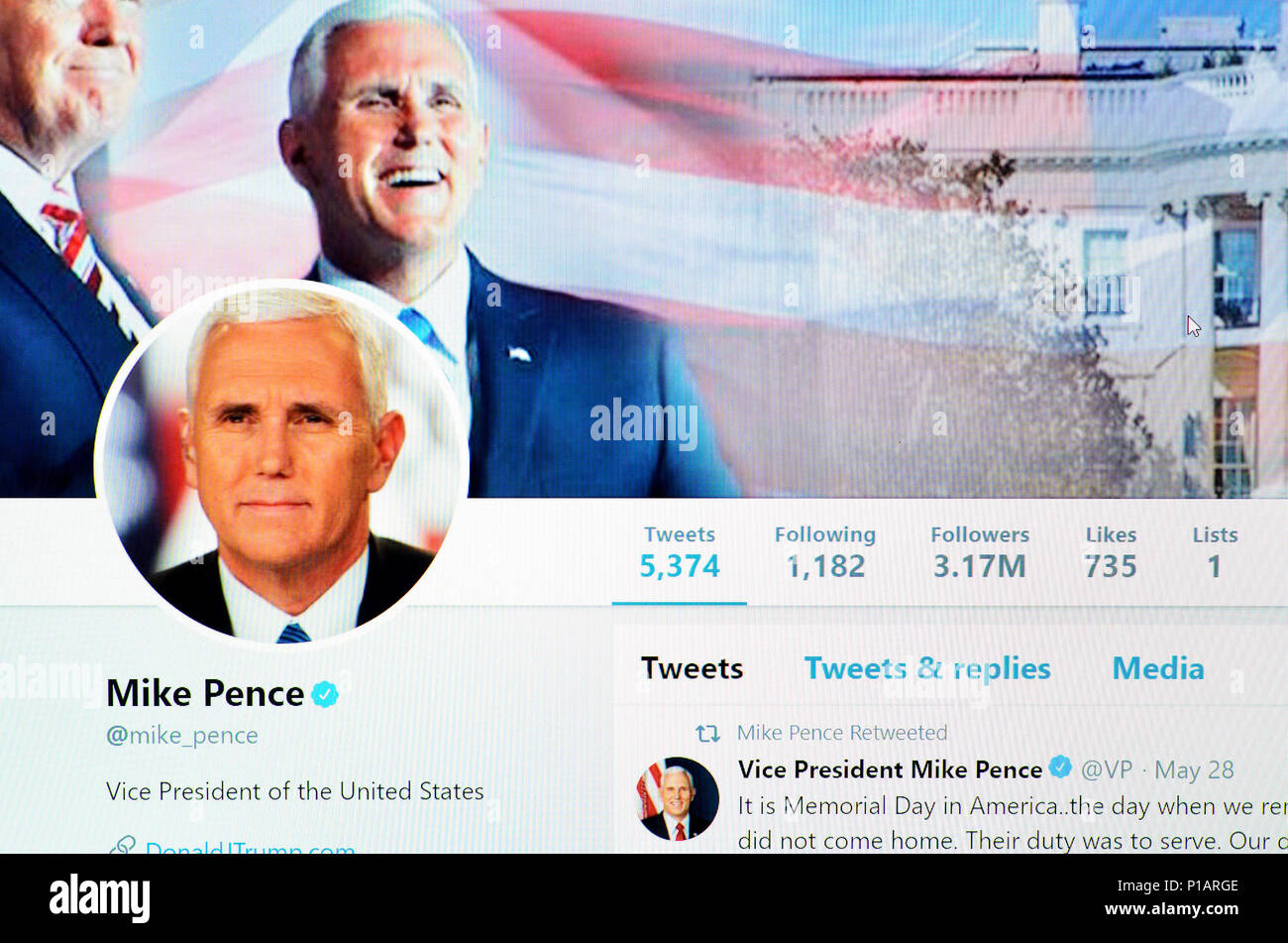 Mike Pence Twitter account home page (June 2018) - Stock Image