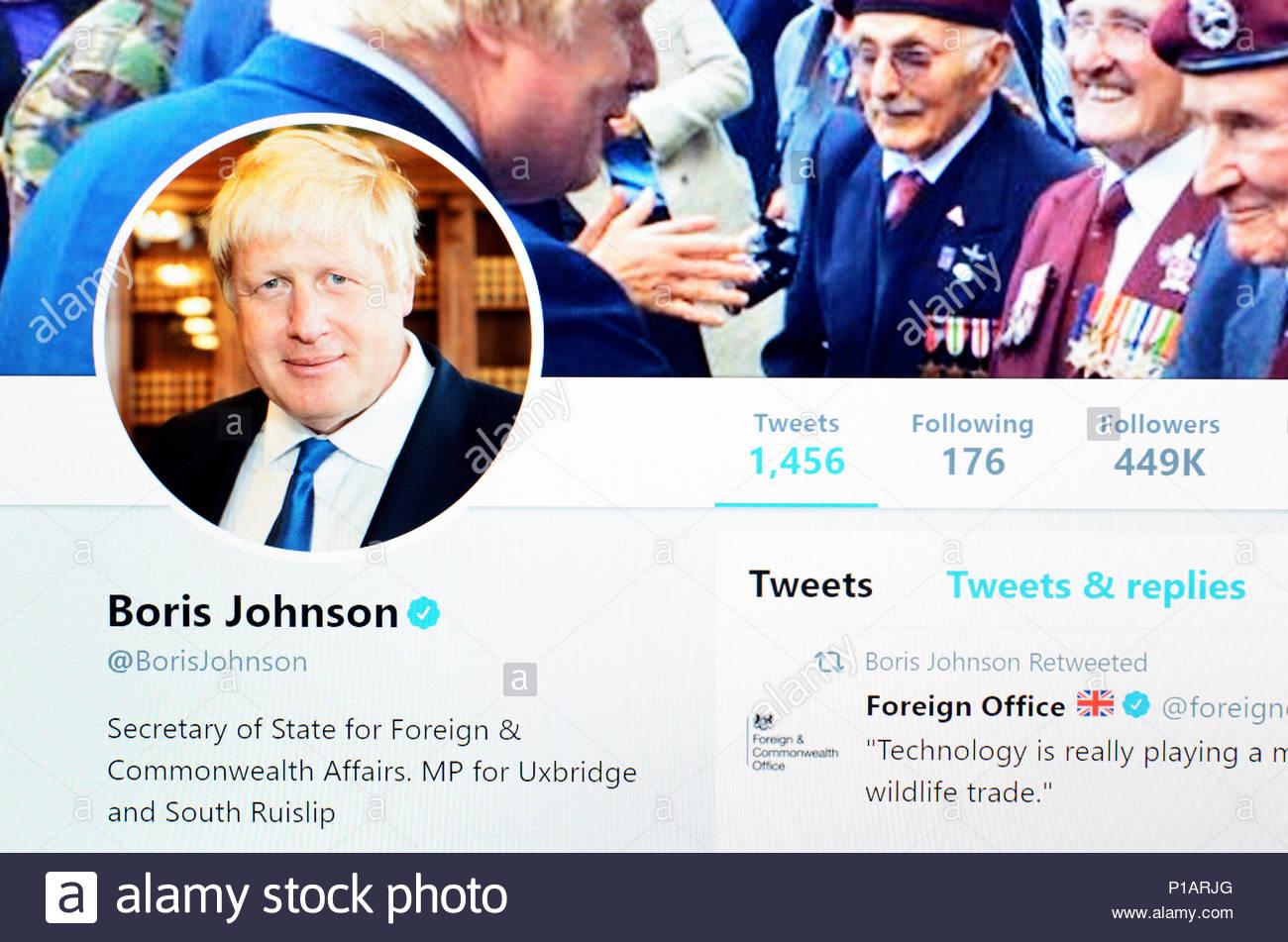 Boris Johnson Twitter account home page (June 2018) - Stock Image