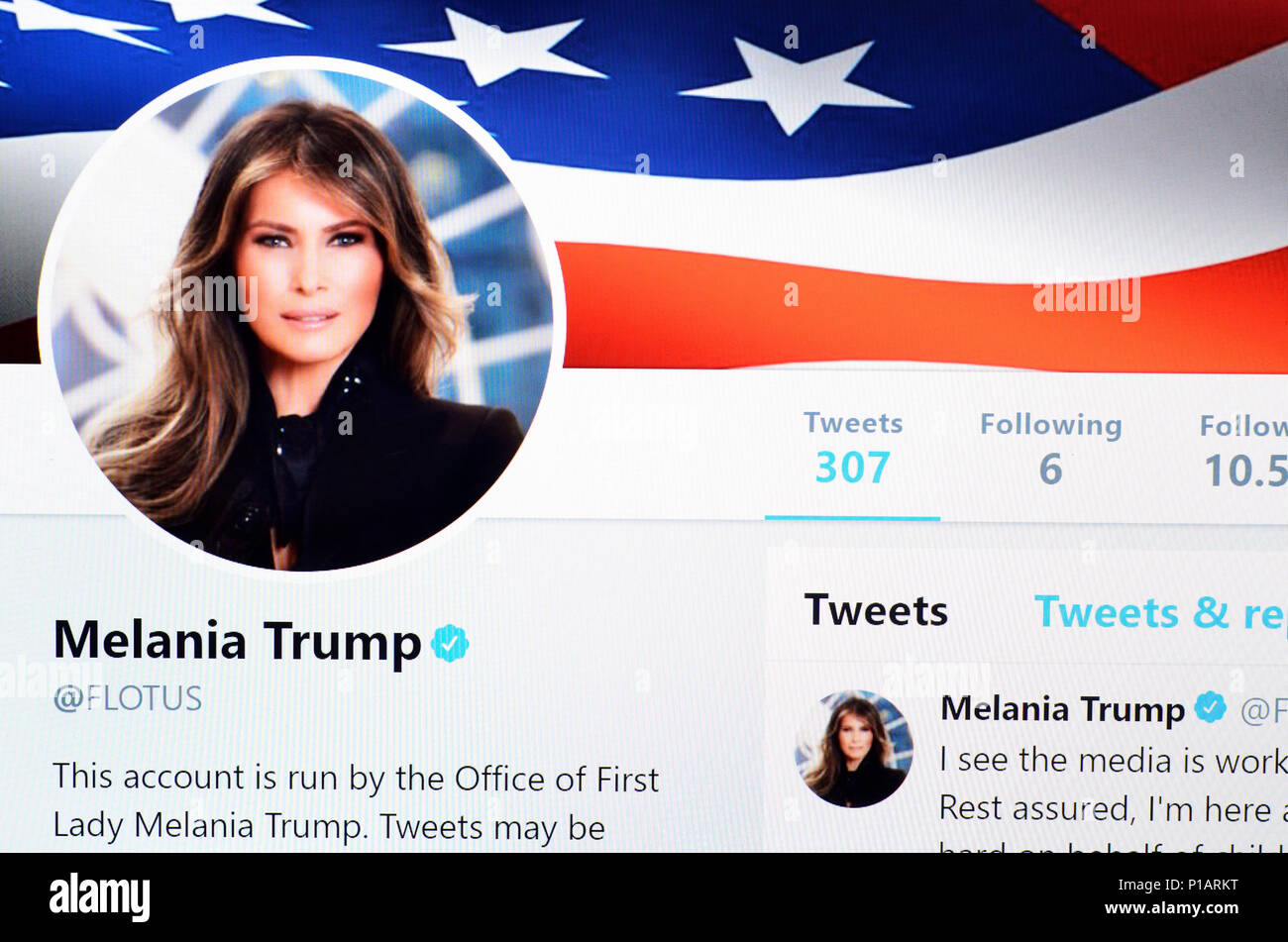 Melania Trump Twitter account home page (June 2018) - Stock Image
