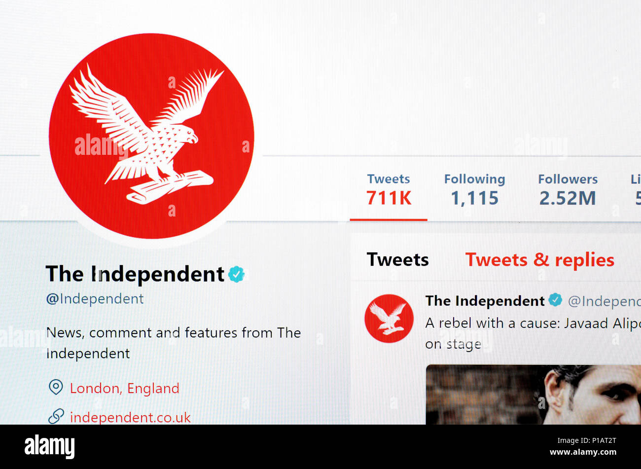 The Independent newspaper Twitter account home page (June 2018) - Stock Image