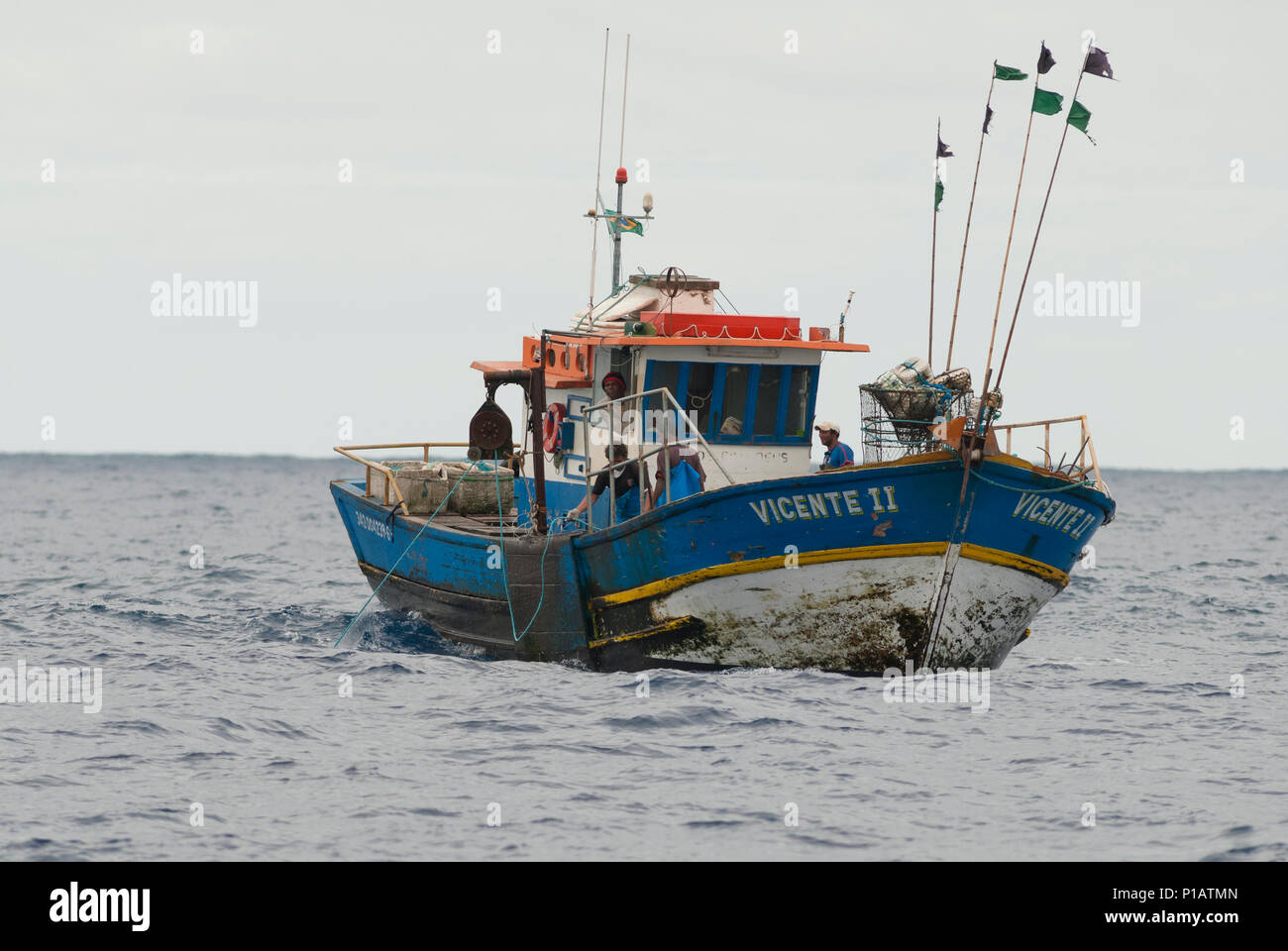 A commercial offshore longliner fishing boat off the coast of SE Brazil - Stock Image