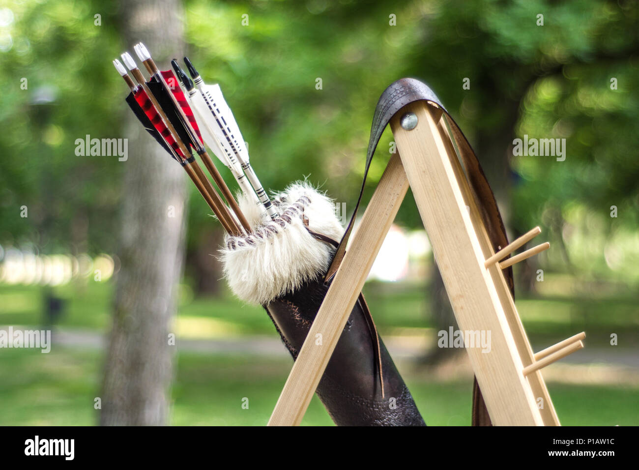 Medieval Set Of Old Wooden Arrows In Leather Case Hanging On Stand Green Forest Blurred Background Close Up Selective Focus Stock Photo Alamy Thousands of free icons in the largest database of free vector icons! alamy