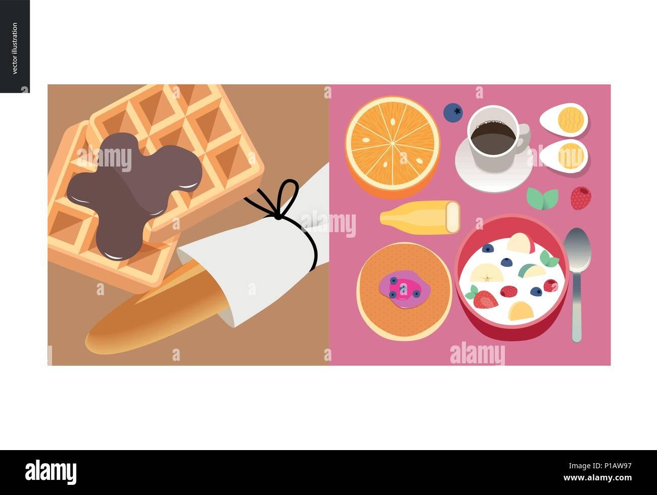 Simple things - color - flat cartoon vector illustration of breakfast meals, orange, coffee, banana, eggs, pancake, cereal, belgian waffles, chocolate - Stock Vector