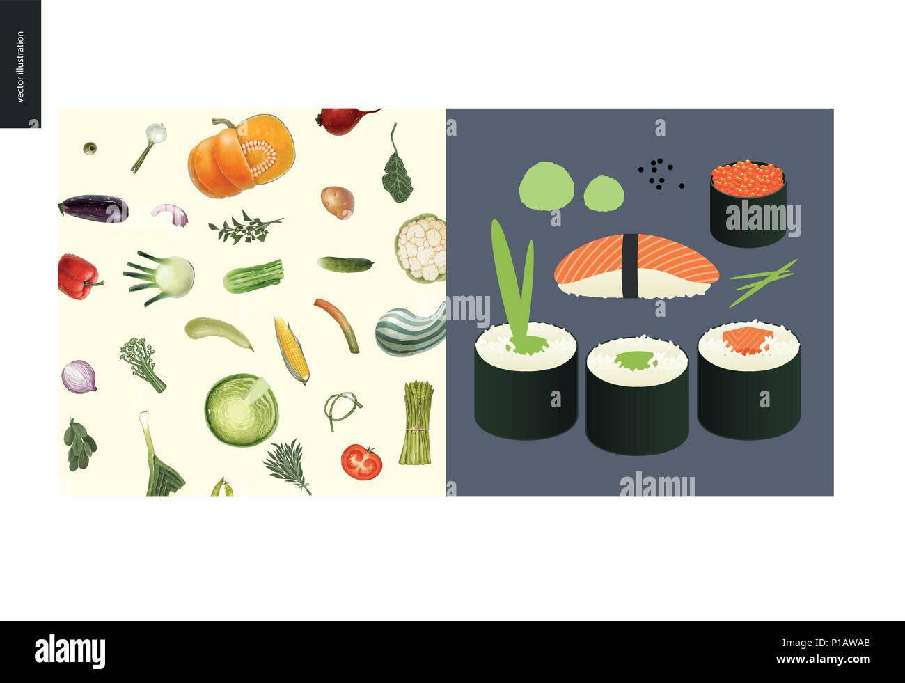 Simple things - meal - flat cartoon vector illustration of vegetables pattern, greens, onion, pumpkin, salad, corn and tomato, sushi and rolls with sa - Stock Vector