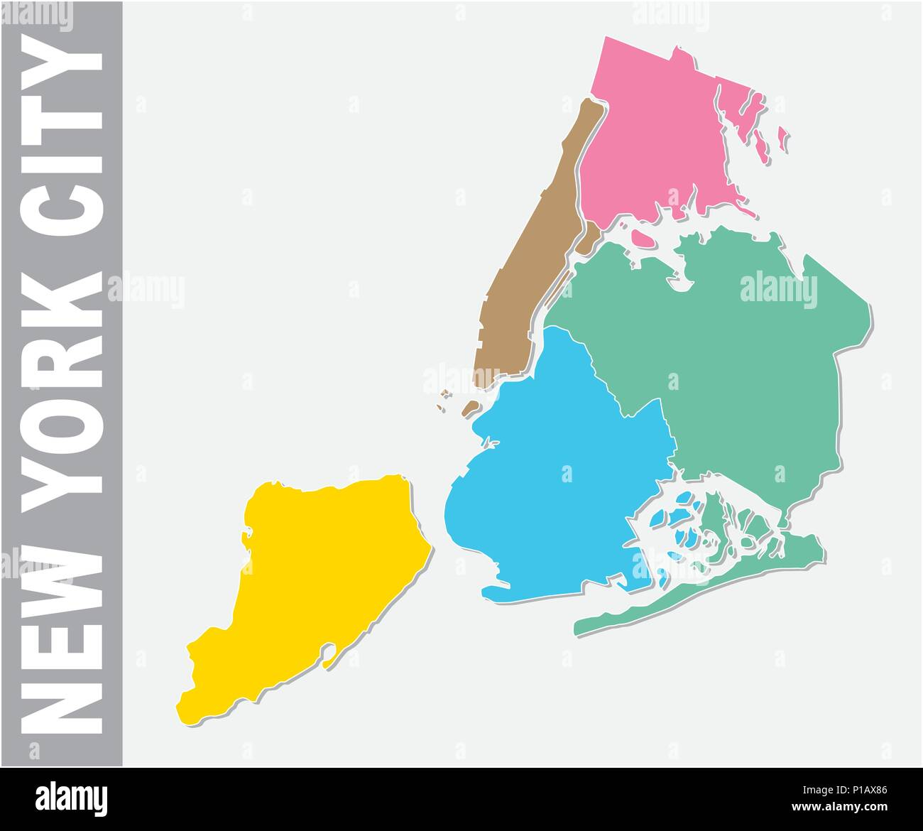colorful new york city administrative and political vector map united states stock image