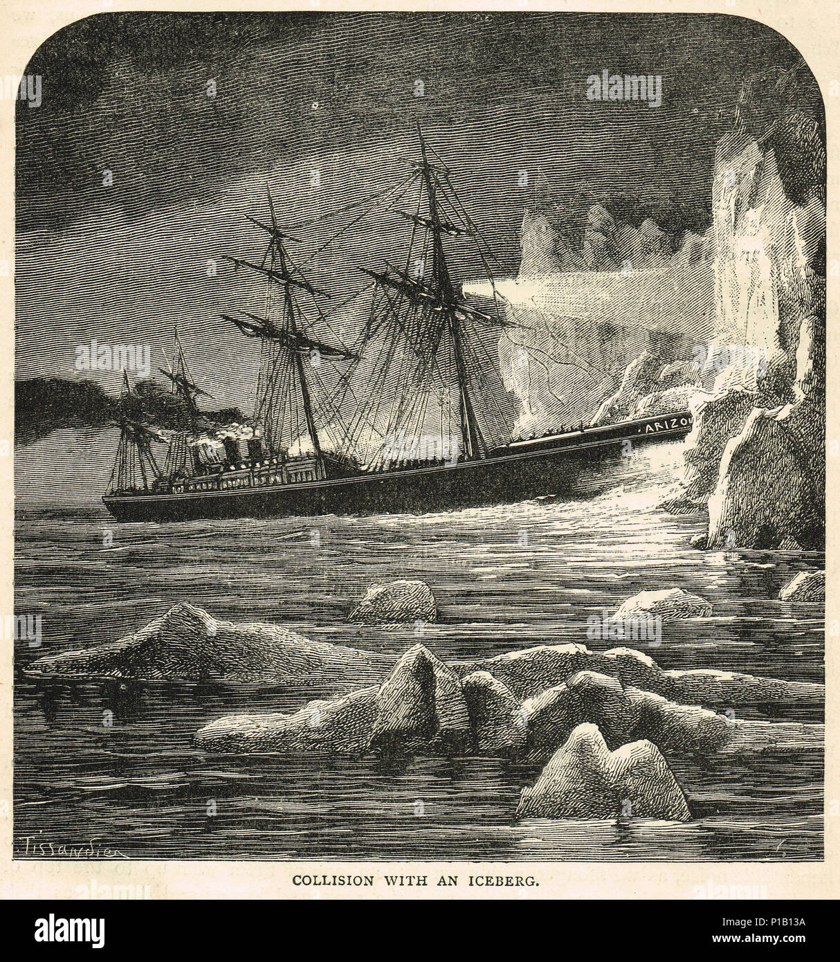 SS Arizona collision with an iceberg whilst en route to Liverpool, 7 November 1879 - Stock Image