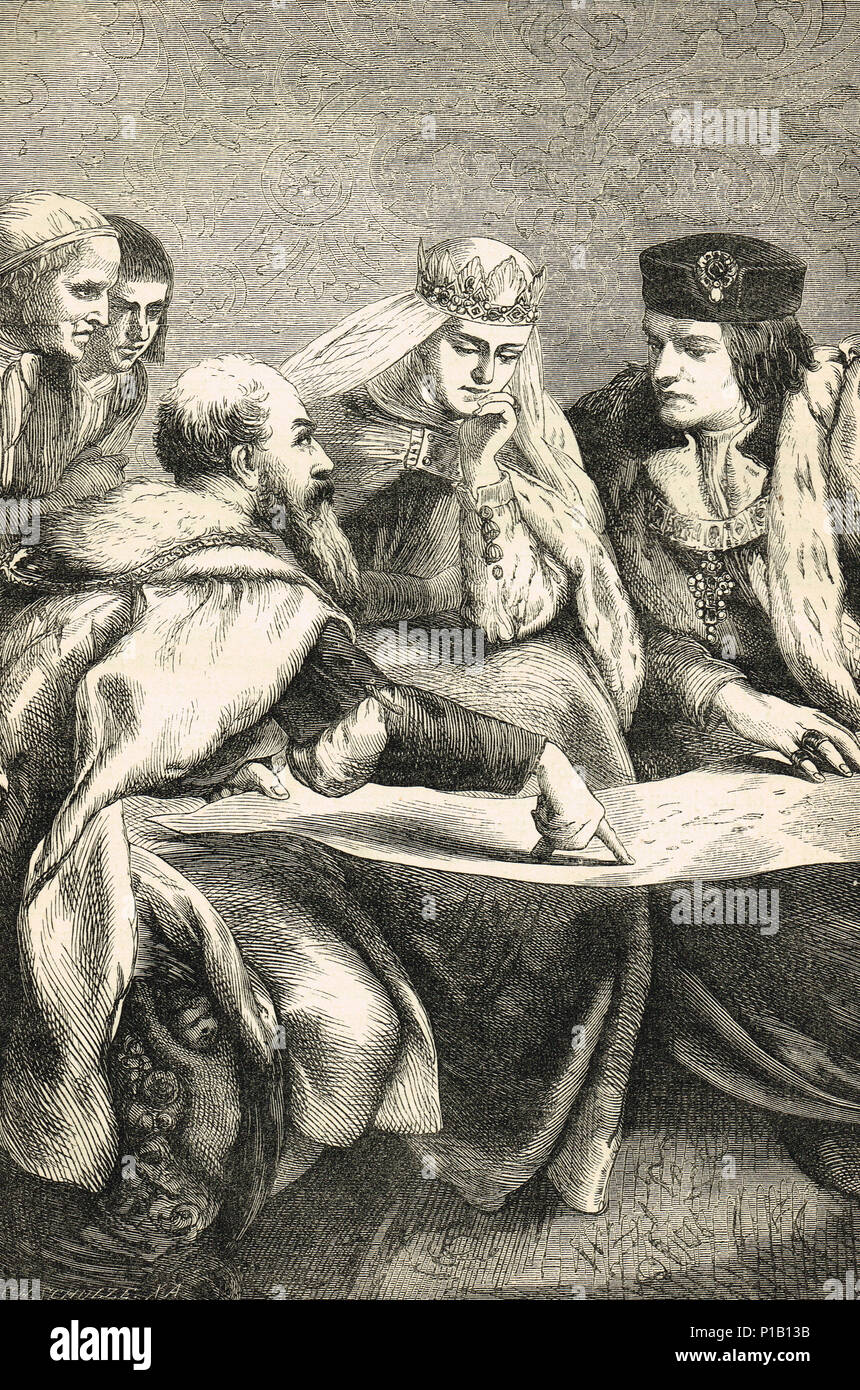 Christopher Columbus, showing his plans to Isabella and Ferdinand - Stock Image
