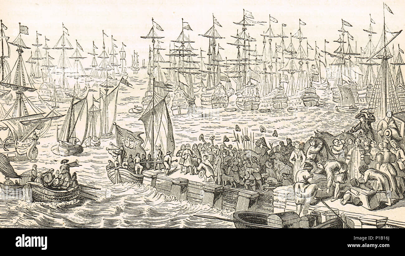 Embarkation of William of Orange from Helvoetsluys, Holland in 1688, departing for Torbay.  invasion of England during the Glorious Revolution - Stock Image