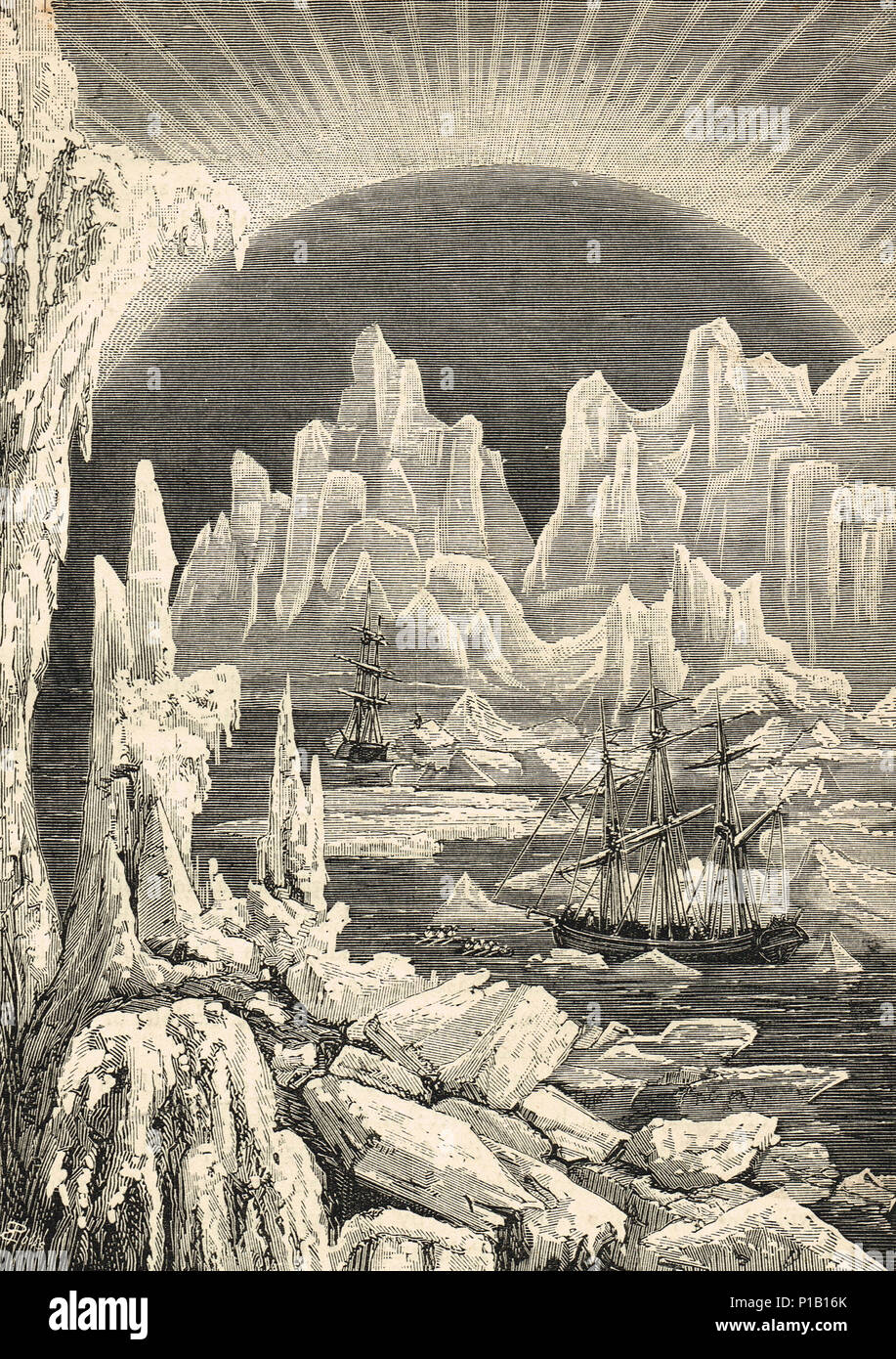 sailing ships among the icebergs, 19th century, searching for the Northwest Passage - Stock Image
