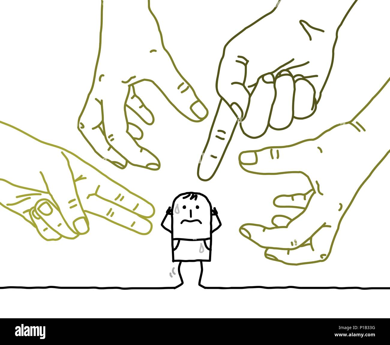 Big Hands with Cartoon Character - Aggression and Paranoia - Stock Image