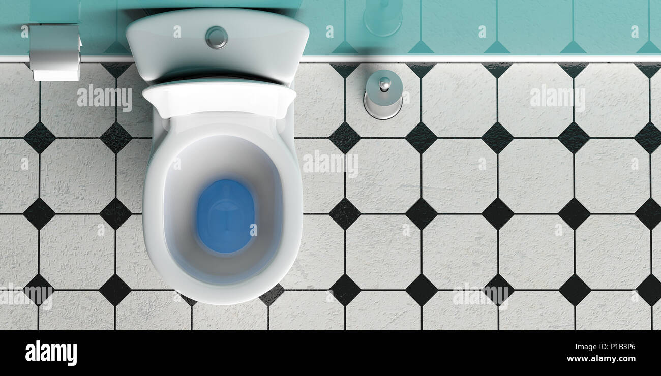 White Toilet Bowl And Brush On Black Tiles Floor Top View Copy Space 3d Illustration