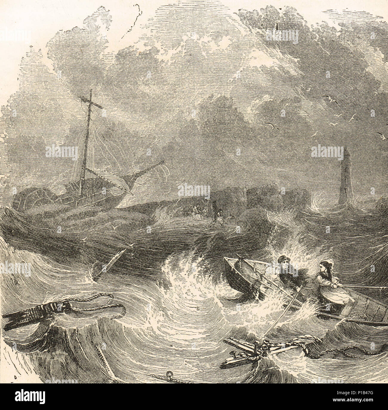 Grace Darling, heroine of the Forfarshire wreck of 1838, rescuing survivors - Stock Image