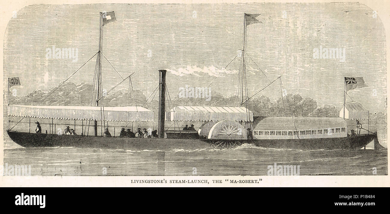 Dr Livingstone's Steam Launch, the Ma-Robert, named in honor of wife Mary and son Robert, Second Zambesi expedition of 1858-1864 - Stock Image