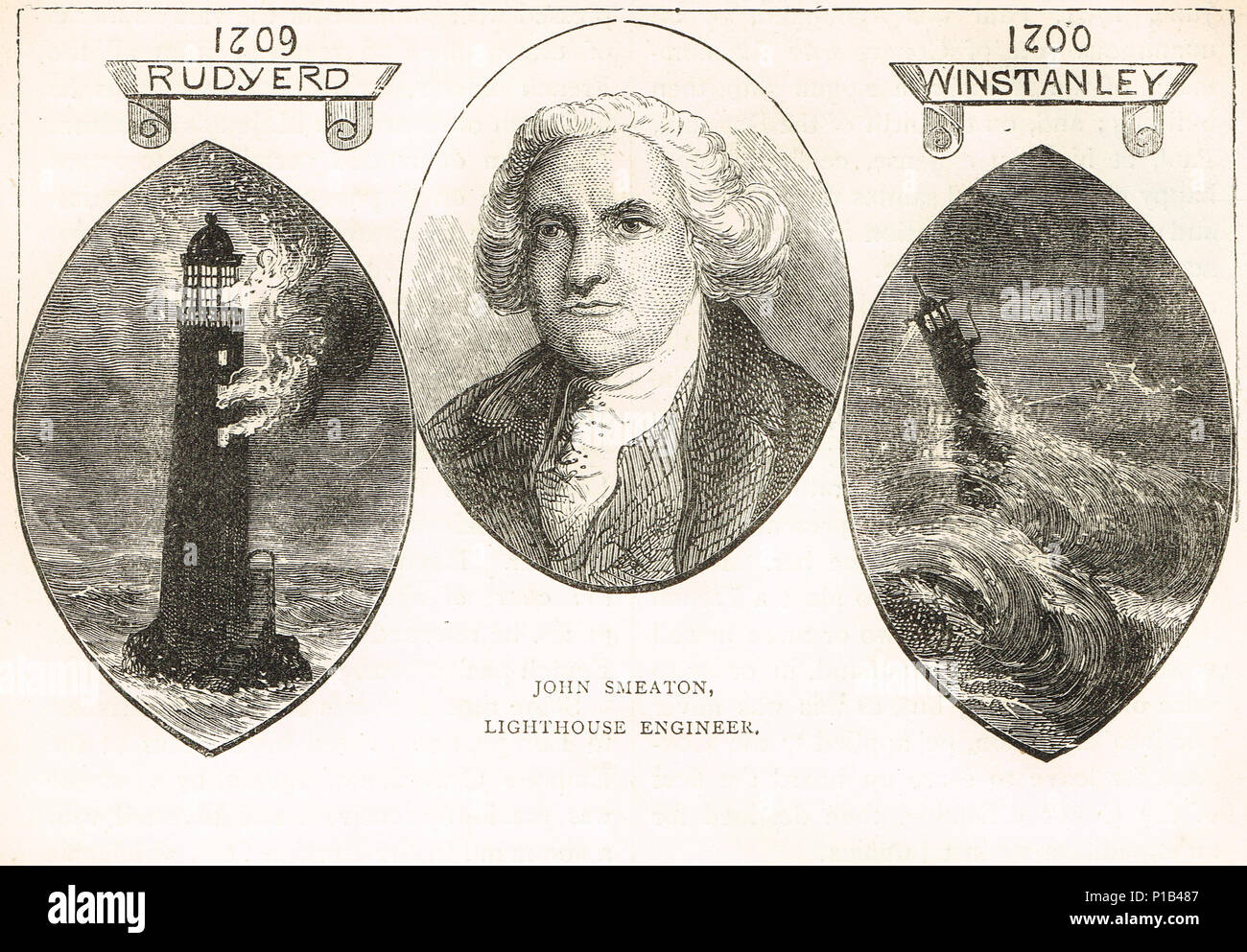 John Smeaton enginner of the Eddystone lighthouse, shown with the 2 previous lighthouses on Eddystone rock  by Henry Winstanley and John Rudyard (or Rudyerd). - Stock Image