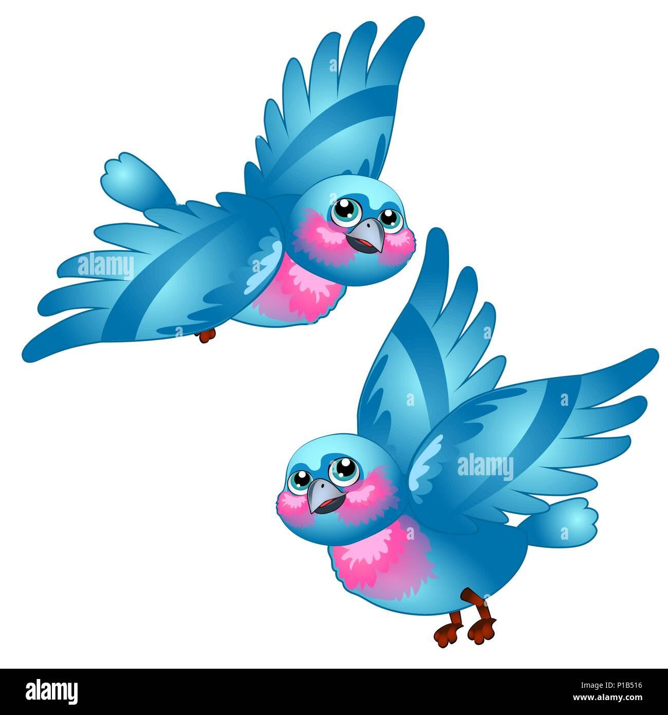 Funny cartoon blue bird isolated on white background. Vector cartoon close-up illustration. - Stock Vector