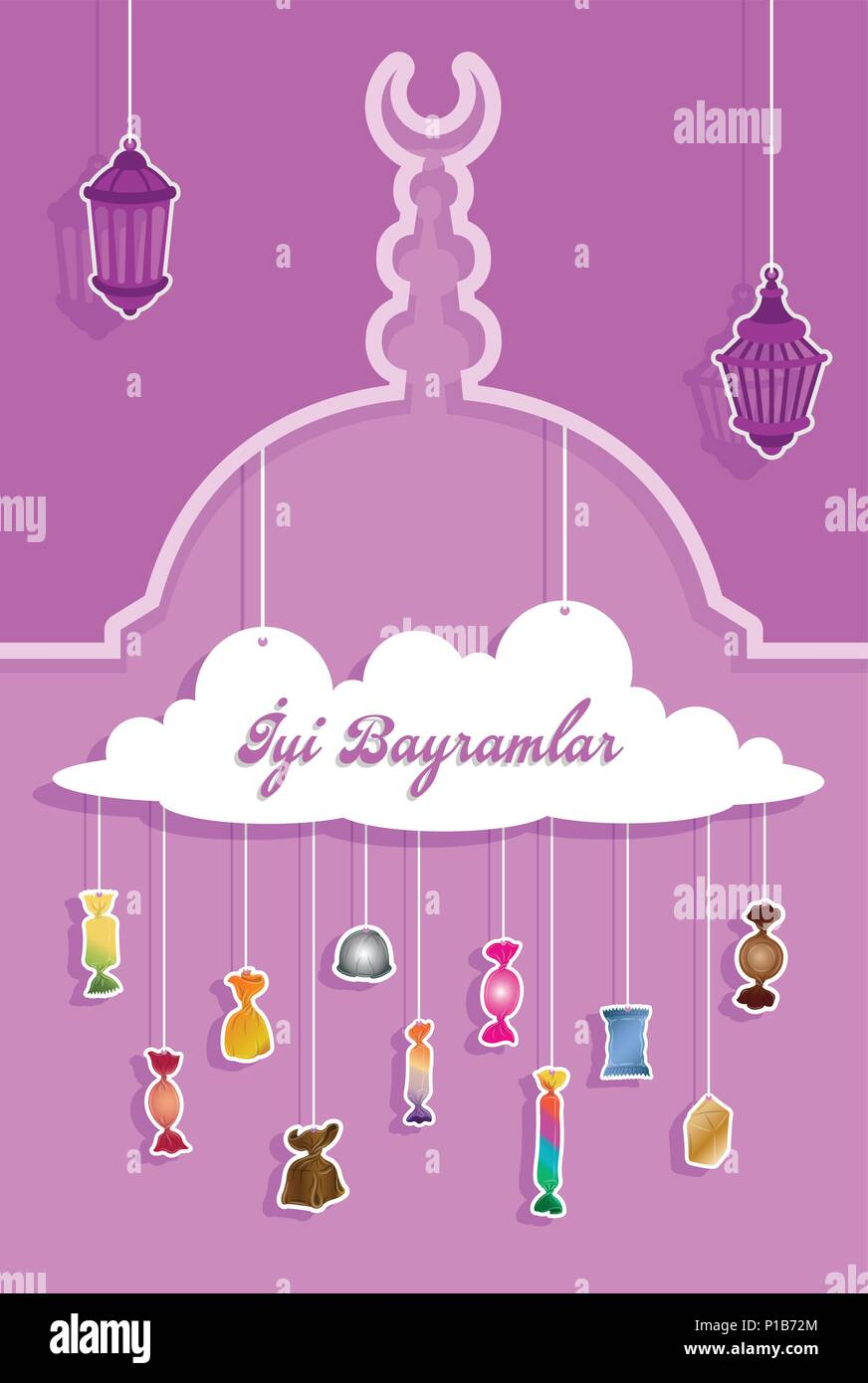 Turkish bayram greeting with paper cut out candies all the objects turkish bayram greeting with paper cut out candies all the objects are in different layers and the text types do not need any font m4hsunfo