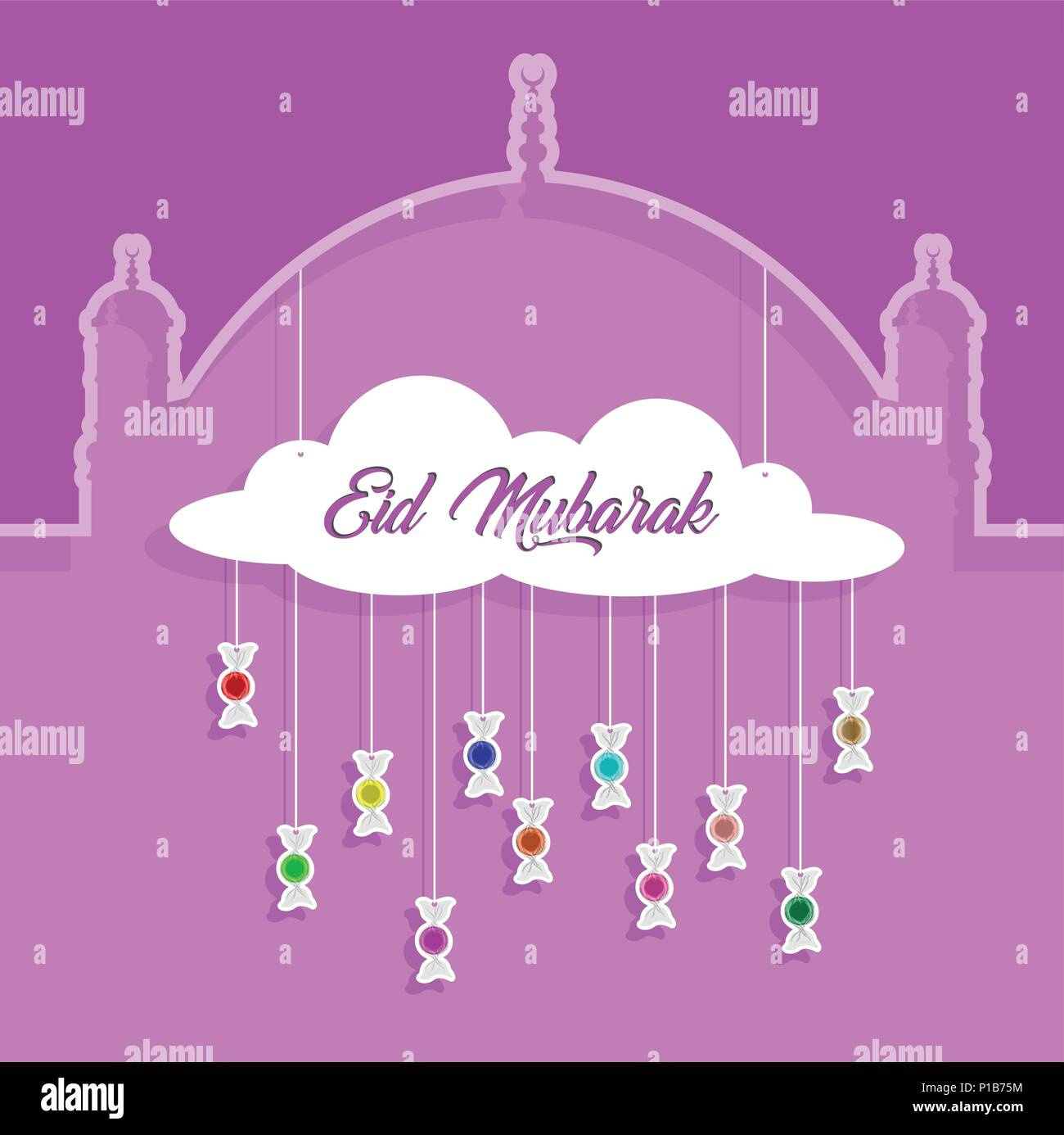Eid mubarak greeting with paper cut out bonbons all the objects are eid mubarak greeting with paper cut out bonbons all the objects are in different layers and the text types do not need any font m4hsunfo