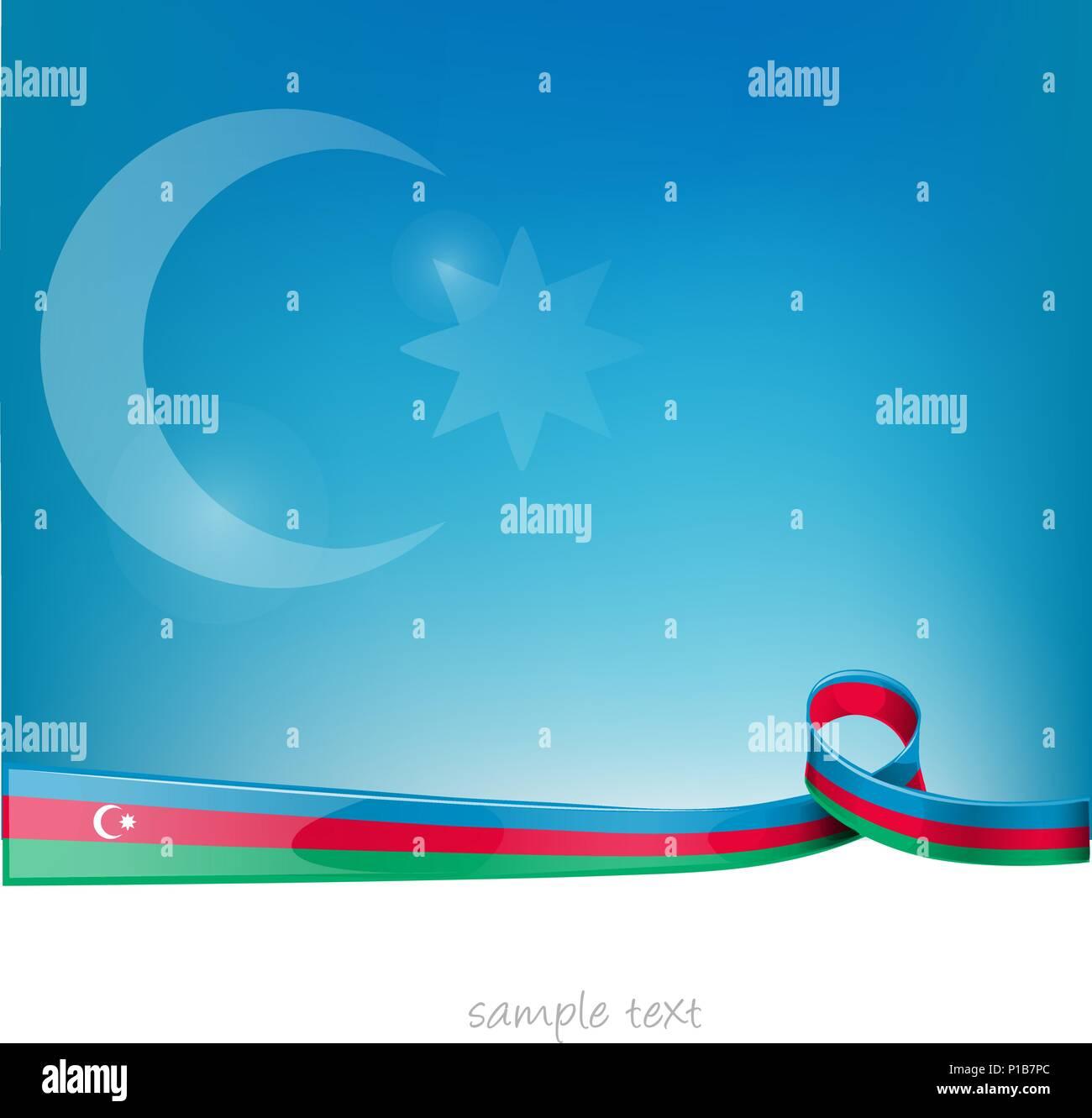 azerbaijan ribbon flag on blue sky background - Stock Vector