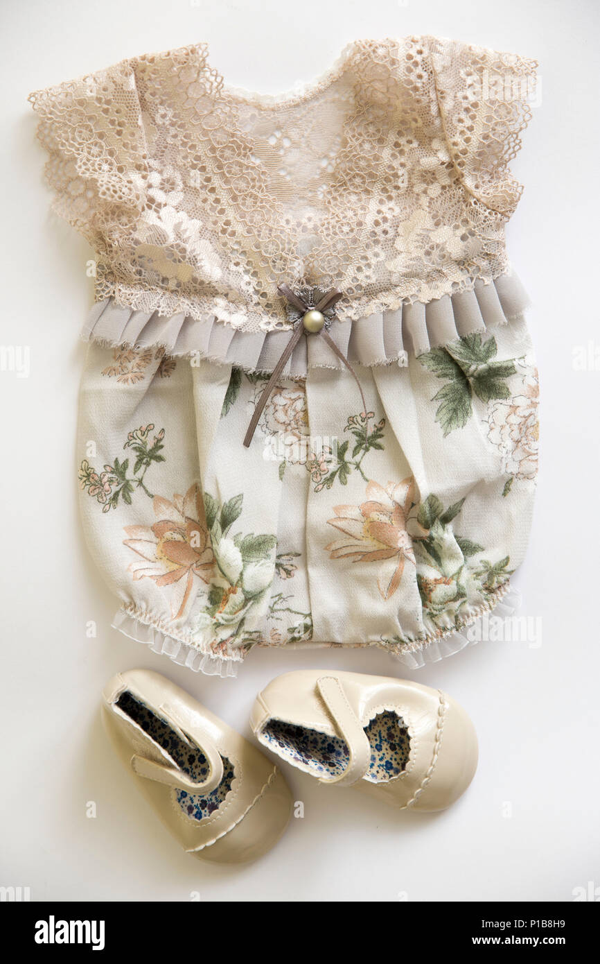 b7dd6a49f5d Vintage lace baby girl romper and shoes Stock Photo  207387301 - Alamy