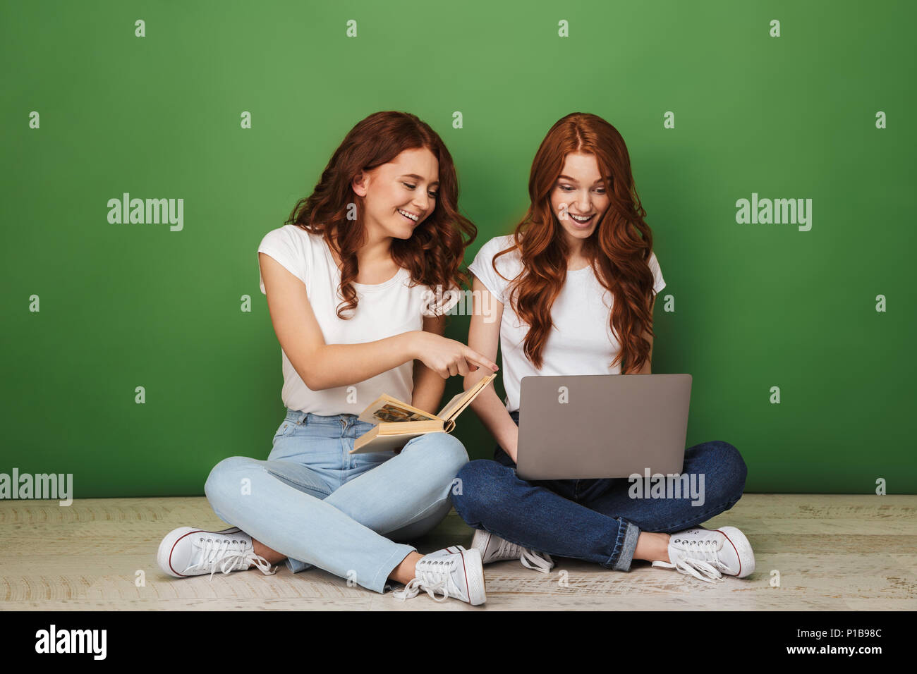 Portrait Of Two Smiling Young Redhead Girls Pointing Finger At Laptop Computer While Sitting On A