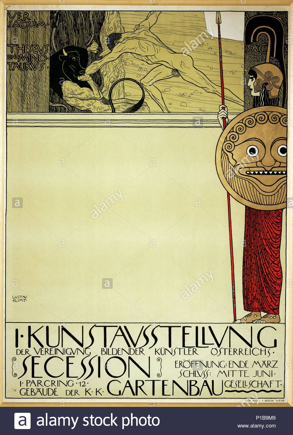 """Poster for the first exhibition of the """" Secession"""", the new artists' group which seceded from the group of Kuenstlerhaus-artists in 1897. This first print-run of the poster was censored and the second version had some trees cover Theseus' genitals (14-17-05 / 62). Author: Gustav Klimt (1862-1918). Location: Wien Museum Karlsplatz, Vienna, Austria. - Stock Image"""