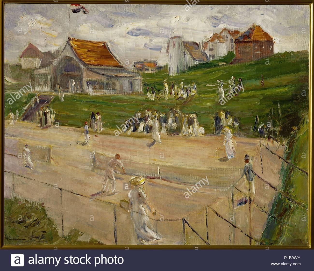 Tenniscourt with players in Noordwijk, Netherlands,1913 Canvas, 71 x 89 cm Inv. M 384. Author: Max Liebermann (1847-1935). Location: Kunstsammlungen der Veste Coburg, Coburg, Germany. - Stock Image