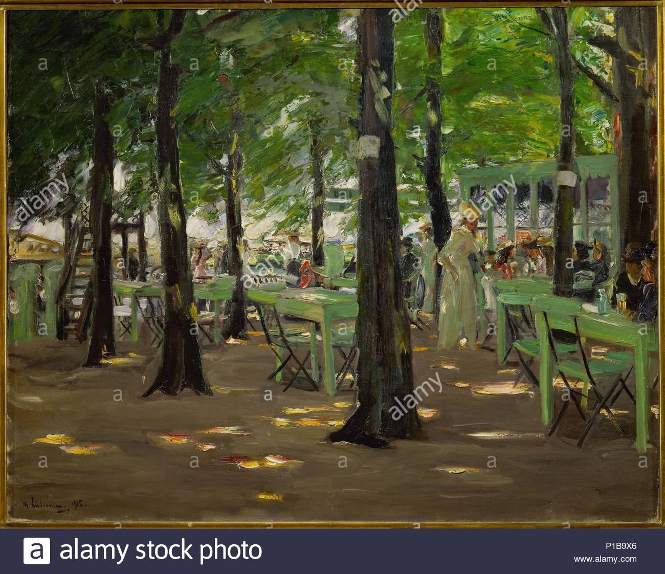 """"""" De Oude Vinck"""", garden restaurant in the outskirts of Leiden (Netherlands), 1905 Canvas, 71 x 88 cm Inv.1653. Author: Max Liebermann (1847-1935). Location: Kunsthaus, Zurich, Switzerland. - Stock Image"""
