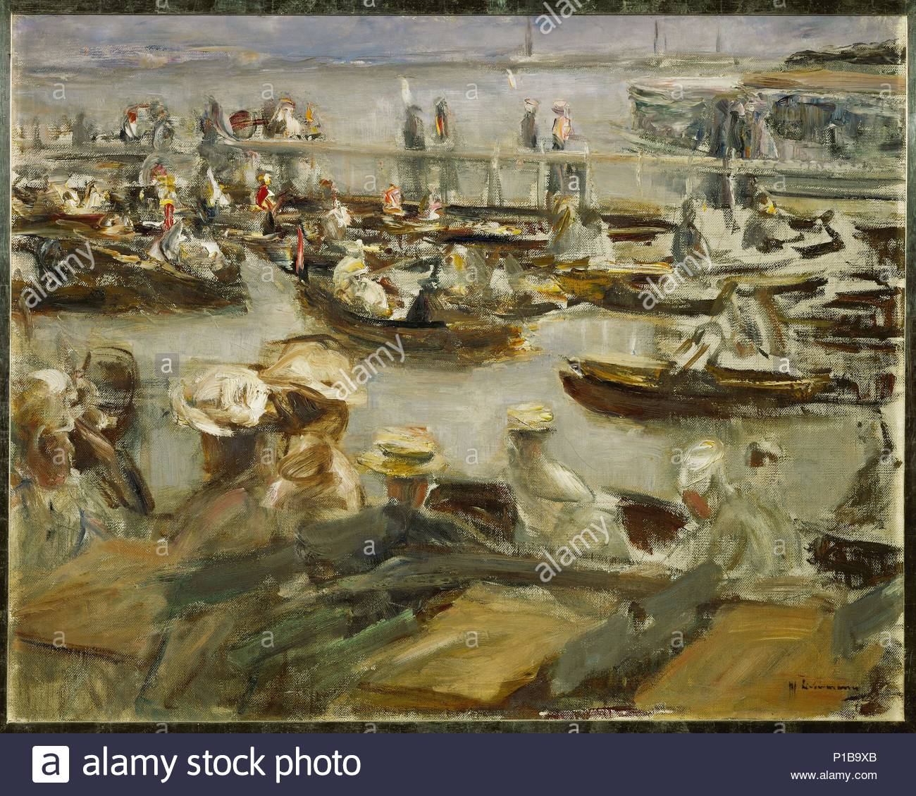 Summer evening on the Alster-river, Hamburg, Germany, 1909 Canvas, 70,5 x 89 cm Inv. 154 / 10. Author: Max Liebermann (1847-1935). Location: Leopold Hoesch Museum, Dueren, Germany. - Stock Image