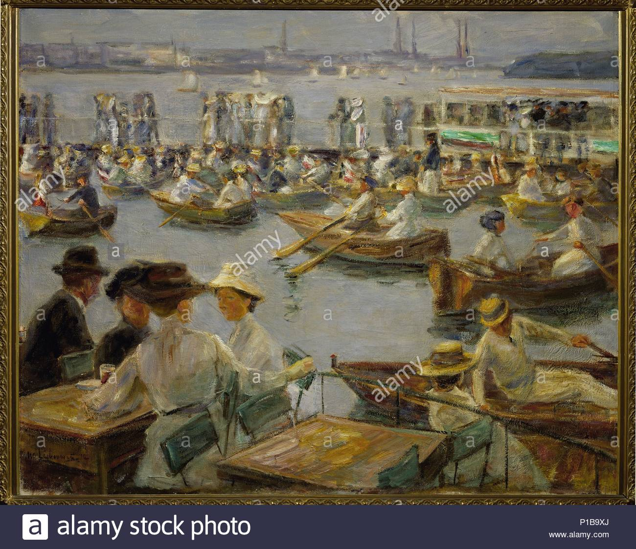 On the shores of the Alster, Hamburg, 1910 Canvas, 85,5 x 104 cm Inv.2457A. Author: Max Liebermann (1847-1935). Location: Staatl. Kunstsammlungen, Neue Meister, Dresden, Germany. - Stock Image