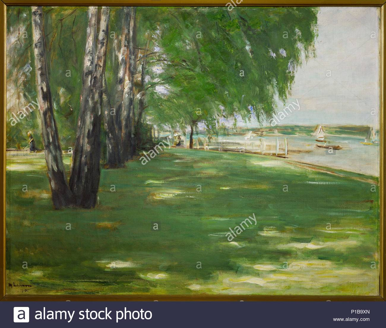 The artist's garden in Wannsee, Berlin; birch trees on the lake shore, 1918. Cabvas, 70 x 90,3 cm Inv. 1600. Author: Max Liebermann (1847-1935). Location: Kunsthalle, Hamburg, Germany. - Stock Image