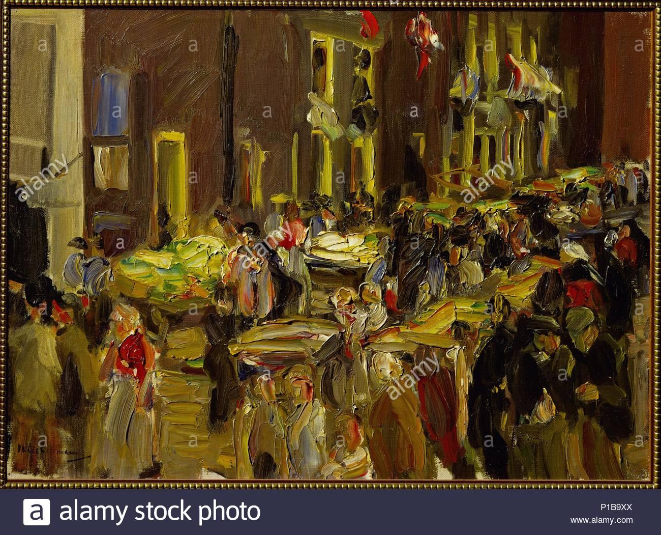 Jodenbreestraat (Jews' street) in Amsterdam, 1905 Canvas, 40 x 55 cm Inv. 353 / 1952. Author: Max Liebermann (1847-1935). Location: Kaiser-Wilhelm-Museum, Krefeld, Germany. - Stock Image