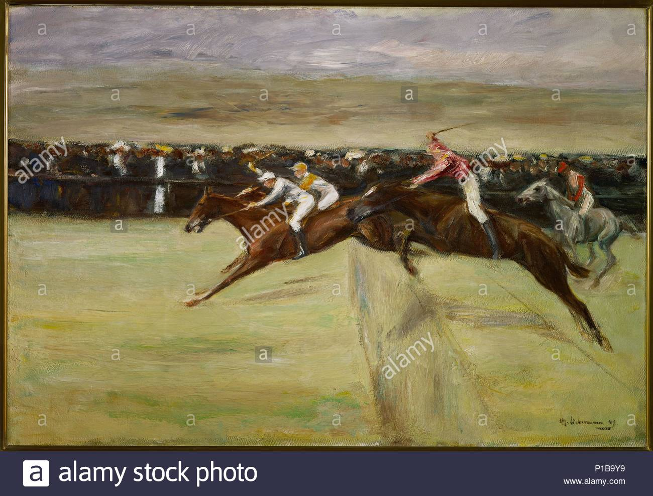 Horse racining in the Cascine, near Florence, Italy, 1909 Canvas,61 x 88 cm. Author: Max Liebermann (1847-1935). Location: Private Collection,, Germany. - Stock Image