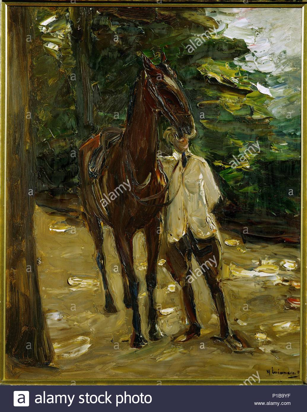 Groom with horse, 1912 Cardboard, 81 x 54,5 cm Inv. WRM 1190. Author: Max Liebermann (1847-1935). Location: Wallraf-Richartz-Museum, Cologne, Germany. - Stock Image