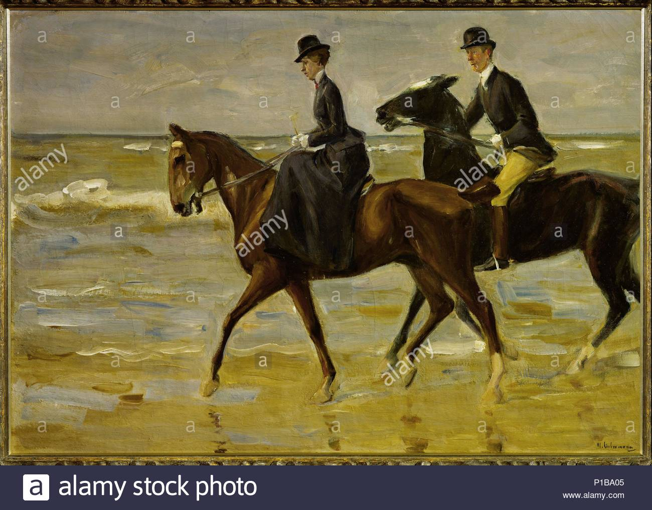 Riders on the beach, 1903 Canvas, 72,5 x 101 cm Inv. WRM 2819. Author: Max Liebermann (1847-1935). Location: Wallraf-Richartz-Museum, Cologne, Germany. - Stock Image