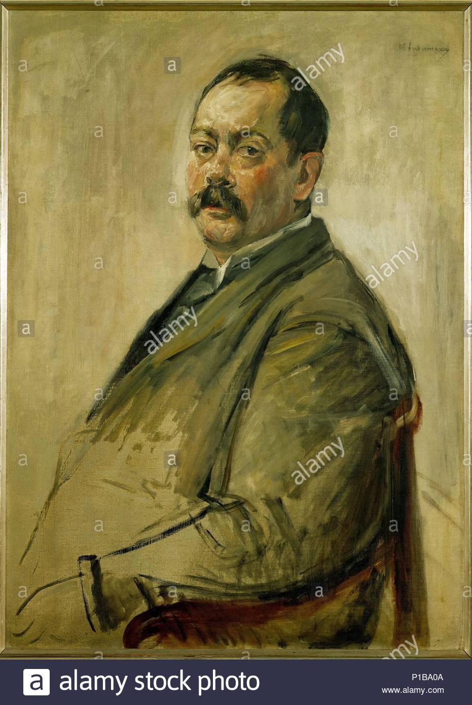 Portrait of painter Lovis Corinth (1858-1925). 1899. Canvas, 88 x 63 cm. Author: Max Liebermann (1847-1935). Location: Deutsche Bank AG, Frankfurt / Main, Germany. - Stock Image