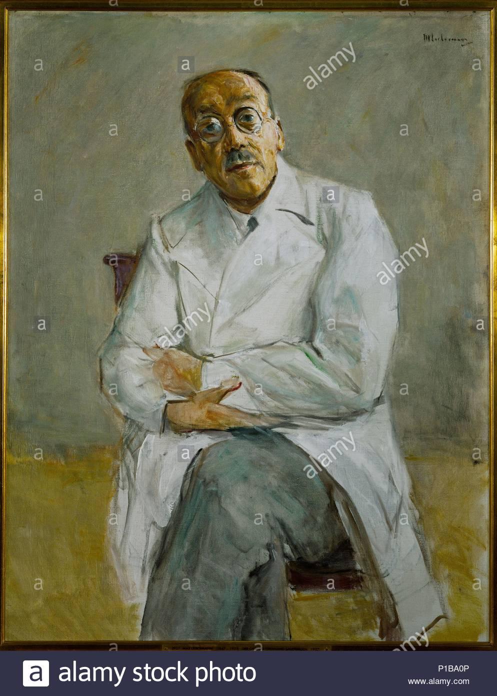 Portrait of surgeon Professor Ferdinand Sauerbruch, (1875-1951). Canvas, 117,2 x 89,4 cm Inv.2927. Author: Max Liebermann (1847-1935). Location: Kunsthalle, Hamburg, Germany. - Stock Image