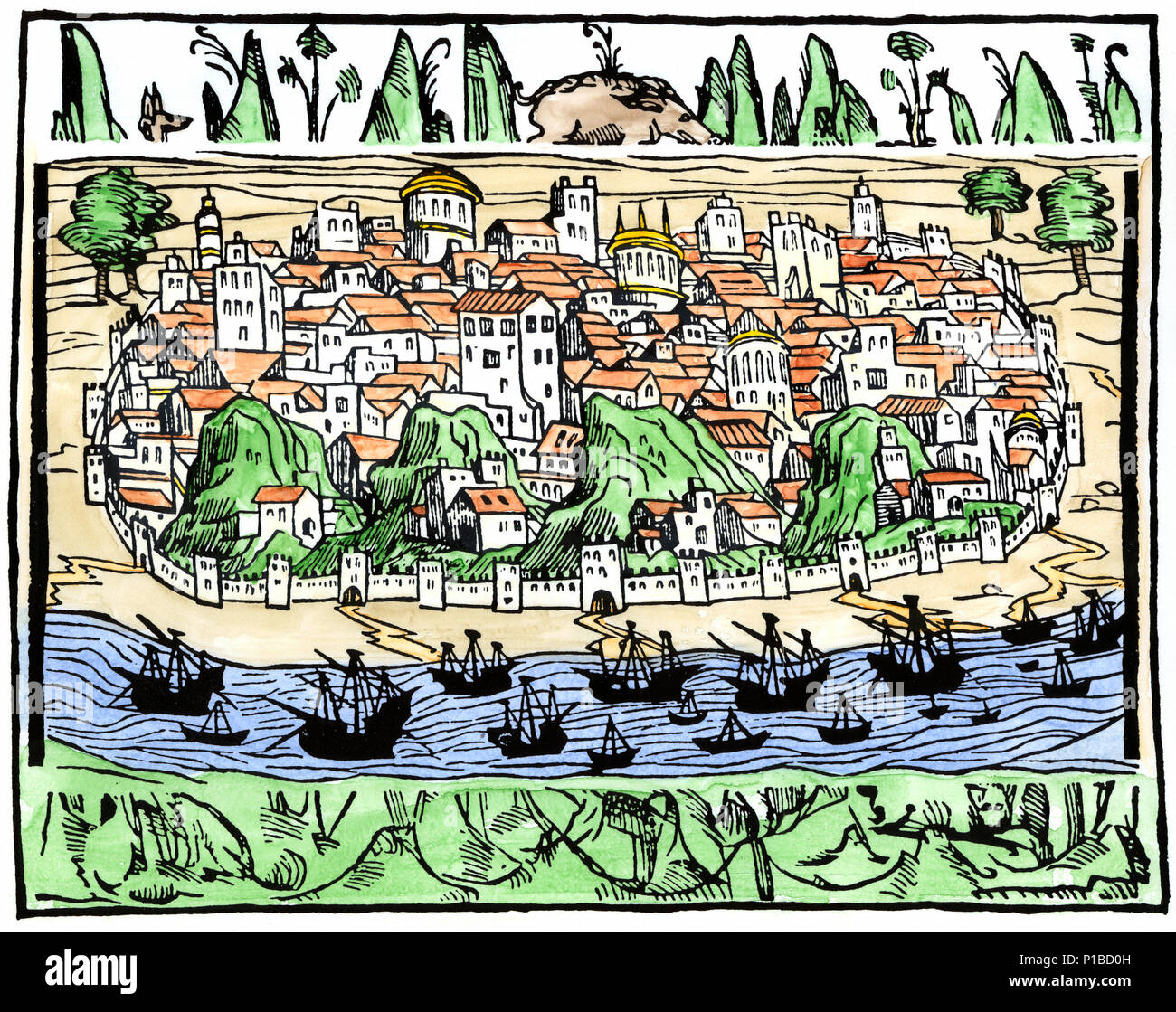 Lisbon, Portugal, in the Age of Discovery. Hand-colored woodcut - Stock Image