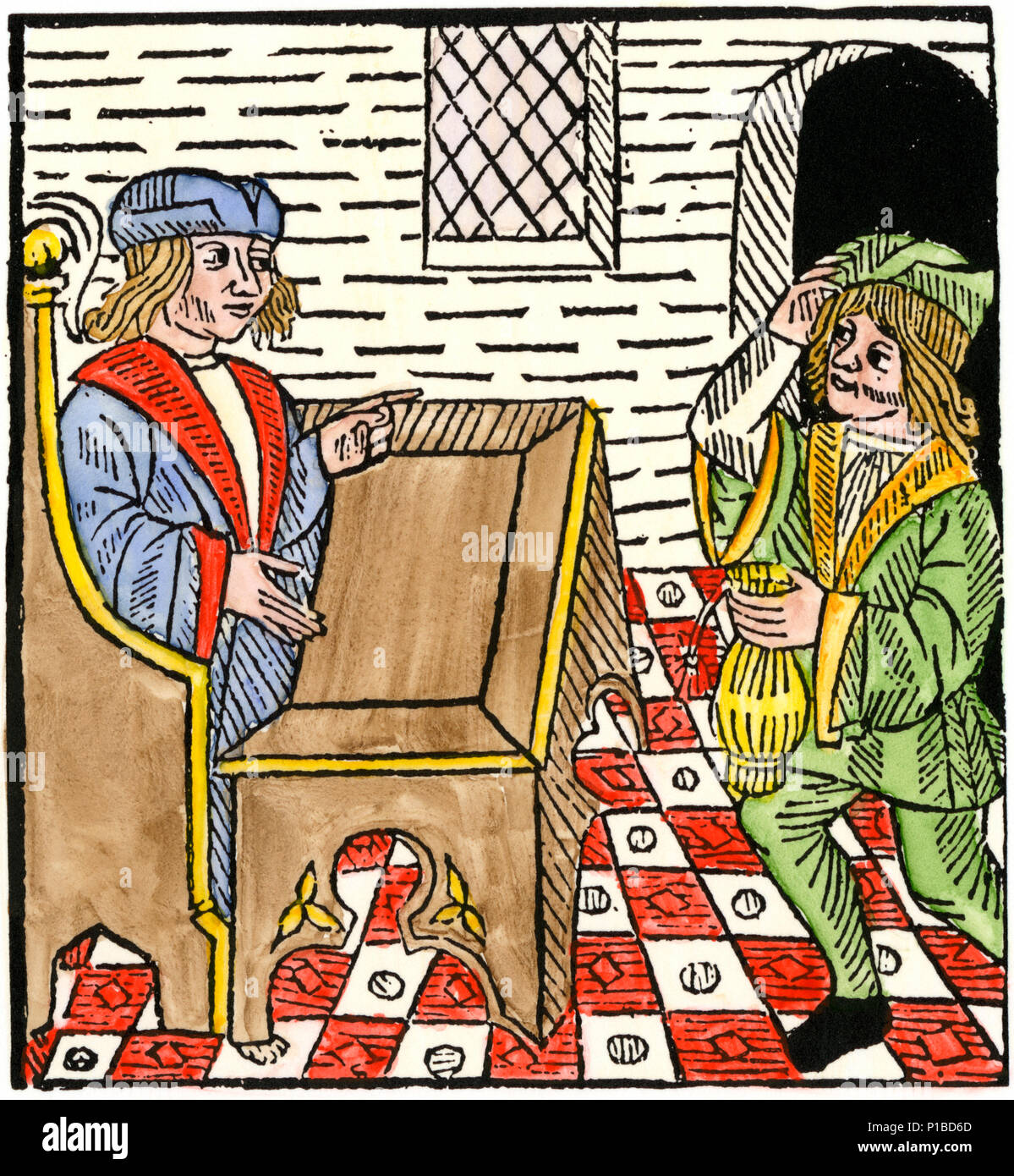 Tenant paying rent, from a book of surveying printed in England, 1523. Hand-colored woodcut - Stock Image